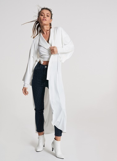 Pi π Bağlamalı Kimono Ekru
